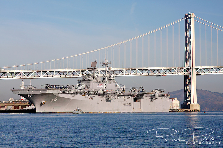 Wasp class amphibious assualt ship USS Makin Island (LHD-8) docked along the San Francisco waterfront. The Makin Island is the eighth ship of the Wasp class and includes gas turbine main propulsion engines and all electric auxiliaries.