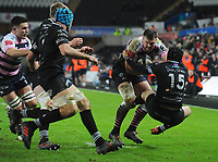 Cardiff Blues&rsquo; Owen Lane is tackled by Ospreys' Sam Davies<br /> <br /> Photographer Kevin Barnes/CameraSport<br /> <br /> Guinness Pro14 Round 13 - Ospreys v Cardiff Blues - Saturday 6th January 2018 - Liberty Stadium - Swansea<br /> <br /> World Copyright &copy; 2018 CameraSport. All rights reserved. 43 Linden Ave. Countesthorpe. Leicester. England. LE8 5PG - Tel: +44 (0) 116 277 4147 - admin@camerasport.com - www.camerasport.com