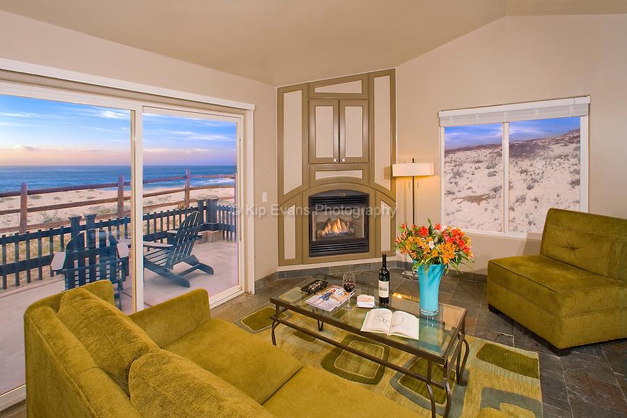 A hotel rom at the Sanctuary Beach Resort in Marina, California.
