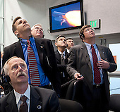 Cape Canaveral, FL - November 16, 2009 -- National Aeronautics and Space Administration (NASA) mission managers monitor the launch of the space shuttle Atlantis from firing room four of the NASA Kennedy Space Center, Monday, November 16, 2009, Cape Canaveral, Florida.  Space shuttle Atlantis and its six-member crew began the 11-day STS-129 mission to the International Space Station (ISS). The shuttle will transport spare hardware to the outpost and return a station crew member who spent more than two months in space. .Mandatory Credit: Bill Ingalls - NASA via CNP