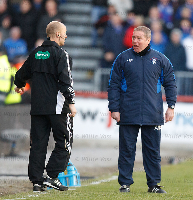 Ally McCoist has words with fouth official Mat Northcroft