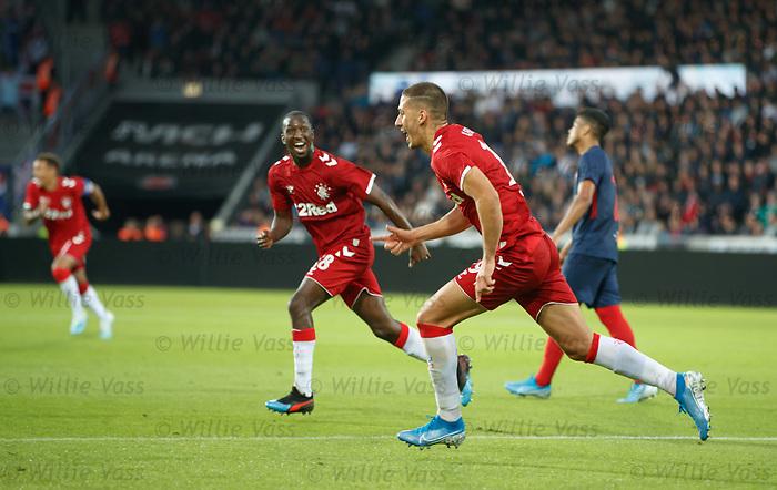08.08.2019 FC Midtjylland v Rangers: Nikola Katic scores goal no 3 and celebrates