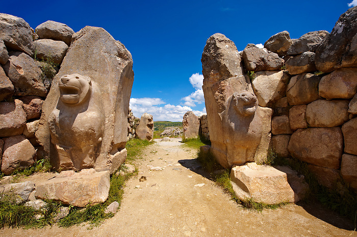 Photo of the Hittite releif sculpture on the Lion gate to the Hittite capital Hattusa 5