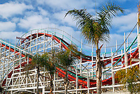 Wooden rollercoaster at Belmont Park at Mission Beach, San Diego, California.
