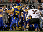 BROOKINGS, SD - OCTOBER 11:  Jake Wieneke #19 from South Dakota State tries to make a move against Kurran Blamey #35 from Missouri State in the first half of their game Saturday evening at Coughlin Alumni Stadium in Brookings. (Photo/Dave Eggen/Inertia)