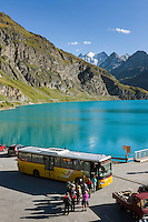 Switzerland, Canton Valais, Val de Moiry above Grimentz at Val d'Anniviers: reservoir Lac de Moiry, elevation of 2.249 m, at background the Moiry Glacier (Glacier de Moiry), post bus stops right at the dam | Schweiz, Kanton Wallis, Val de Moiry oberhalb von Grimentz (im Val d'Anniviers): Stausee Lac de Moiry auf 2.249 m, im Hintergrund der Moirygletscher (Glacier de Moiry) und die Dent Blanche, 4.357 m, auf der Staumauer haelt der Postbus