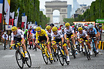 The peloton led by Team Sky on the Champs-Elysees during Stage 21 of the 104th edition of the Tour de France 2017, an individual time trial running 1.3km from Montgeron to Paris Champs-Elysees, France. 23rd July 2017.<br /> Picture: ASO/Pauline Ballet | Cyclefile<br /> <br /> <br /> All photos usage must carry mandatory copyright credit (&copy; Cyclefile | ASO/Pauline Ballet)