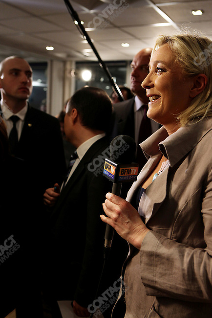 Marine Le Pen, at the headquarters of the far-right National Front, the evening of nationwide department elections (Cantonales). Nanterre, France, March 27, 2011