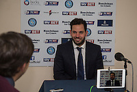 Sam Wood of Wycombe Wanderers with a post match interview during the Sky Bet League 2 match between Wycombe Wanderers and Crawley Town at Adams Park, High Wycombe, England on 28 December 2015. Photo by Andy Rowland / PRiME Media Images