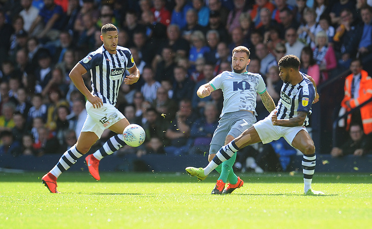 Blackburn Rovers' Adam Armstrong vies for possession with West Bromwich Albion's Darnell Furlong<br /> <br /> Photographer Kevin Barnes/CameraSport<br /> <br /> The EFL Sky Bet Championship - West Bromwich Albion v Blackburn Rovers - Saturday 31st August 2019 - The Hawthorns - West Bromwich<br /> <br /> World Copyright © 2019 CameraSport. All rights reserved. 43 Linden Ave. Countesthorpe. Leicester. England. LE8 5PG - Tel: +44 (0) 116 277 4147 - admin@camerasport.com - www.camerasport.com