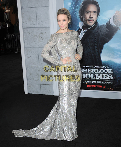 Rachel McAdams.The World Premiere of 'Sherlock Holmes: A Game of Shadows' held at The Village Theatre in Brentwood, California, USA..December 6th, 2011.full length dress silver beads beaded dress hands on hips.CAP/RKE/DVS.©DVS/RockinExposures/Capital Pictures.