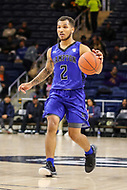 Washington, DC - December 22, 2018: Hampton Pirates guard Jermaine Marrow (2) dribbles the ball during the DC Hoops Fest between Hampton and Howard at  Entertainment and Sports Arena in Washington, DC.   (Photo by Elliott Brown/Media Images International)