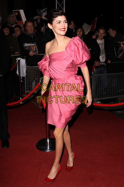 AUDREY TAUTOU.The British Academy Film Awards 2010 After Party at the Grosvenor Hotel, London, England..February 21st, 2010.BAFTA BAFTAs full length pink one shoulder dress off the puffy sleeve sleeves red patent shoes clutch bag off the .CAP/AH.©Adam Houghton/Capital Pictures.