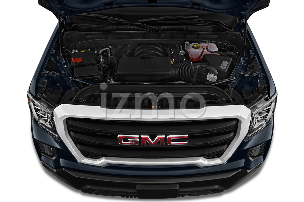 Car Stock 2019 GMC Sierra-1500 WT 4 Door Pick-up Engine  high angle detail view