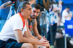 Coach Sergio Scariolo (l) informs Jaime Fernandez (r) that he will not go to the World Cup in China with Spanish National Team . August 21, 2019. (ALTERPHOTOS/Francis González)