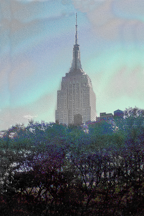 A altered image of the Empire State Building