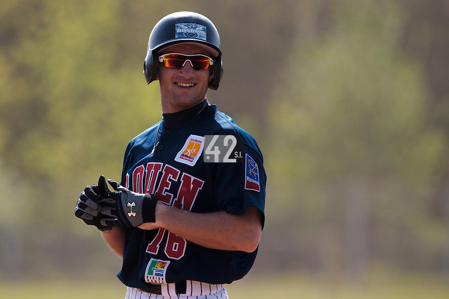 25 April 2010: Joris Bert of Rouen smiles during game 1/week 3 of the French Elite season won 12-4 by Rouen over the PUC, at the Pershing Stadium in Vincennes, near Paris, France.