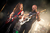 BARONESS - guitarist Gina Gleason and vocalist John Baizley -  performing live on Day 3 Sunday at the 2018 Download Festival in Donington Park Castle Donington UK - 19 Jun 2018.  Photo credit: Paul Harries/IconicPix