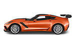 Car driver side profile view of a 2019 Chevrolet Corvette ZR1 3 Door Targa