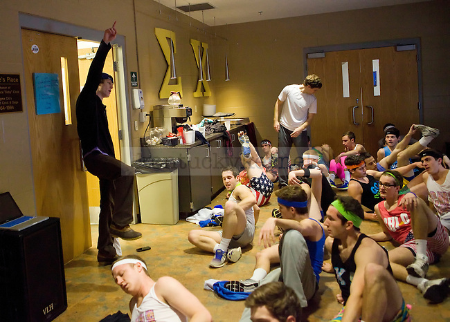 Senior Eric Edelen leads members of Sigma Chi at practice before Greek Sing in Lexington, Ky., on Saturday February 8, 2014. Photo by Emily Wuetcher | Staff