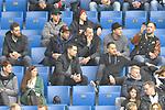 Zu Gast in Hoffenheim die Adler Mannheim Spieler. In der mittleren Reihe v.l. Mannheims Thomas Larkin (Nr.37), Mannheims Matthias Plachta (Nr.22), Mannheims Christoph Ullmann (Nr.47), Mannheims David Wolf (Nr.89) und Mannheims Marcus Kink (Nr.17). Direkt darunter v.l. Mannheims Sinan Akdag (Nr.7) und Mannheims Devin Setoguchi (Nr.16)  beim Spiel in der Fussball Bundesliga, TSG 1899 Hoffenheim - VfL Wolfsburg.<br /> <br /> Foto &copy; PIX-Sportfotos *** Foto ist honorarpflichtig! *** Auf Anfrage in hoeherer Qualitaet/Aufloesung. Belegexemplar erbeten. Veroeffentlichung ausschliesslich fuer journalistisch-publizistische Zwecke. For editorial use only.