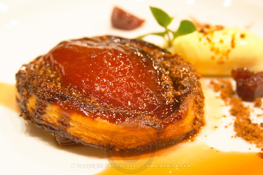 The desert: a pie or tartelette with candied quince fruit caramel sauce and icecream The Dolly Irigoyen - famous chef and TV presenter - private restaurant, Buenos Aires Argentina, South America Espacio Dolli