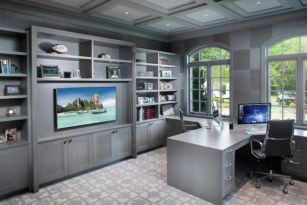 Home Office with Mounted TV