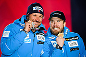 9th February 2019, ARE, Sweden; Kjetil Jansrud and Aksel Lund Svindal of Norway celebrate at the medal ceremony for mens downhill during the FIS Alpine World Ski Championships on February 9, 2019 in Are.