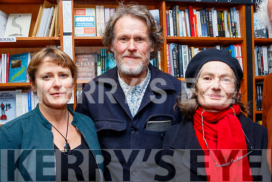 L-R Wendela Rosenberg Polak, Padraig Ó Duinnín and Lauran Williams at the Dingle bookshop last Saturday night for the launch of the book, In the Wake of St Brendan, from Dingle to Iceland by the late Danny Sheehy.