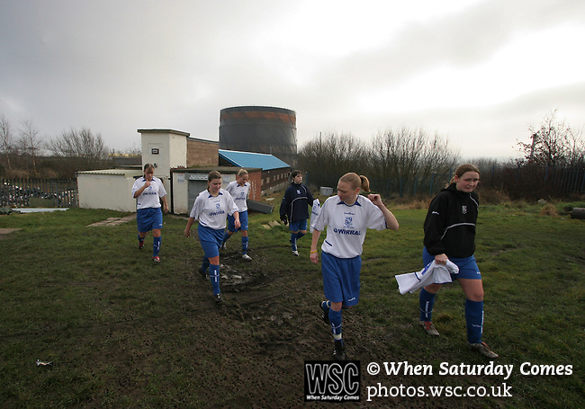 Tranmere Rovers Ladies 5 Middlesbrough Ladies 0, 22/01/2006. FA Women's premier League North. Tranmere Rovers Ladies (white) take on Middlesbrough Ladies in a FA Women's premier League (North) match at Poulton Victoria FC's ground in Wallasey. Rovers won 5-0. Here their players emerge from the dressing rooms prior to kick-off.<br />  Photo by Colin McPherson.
