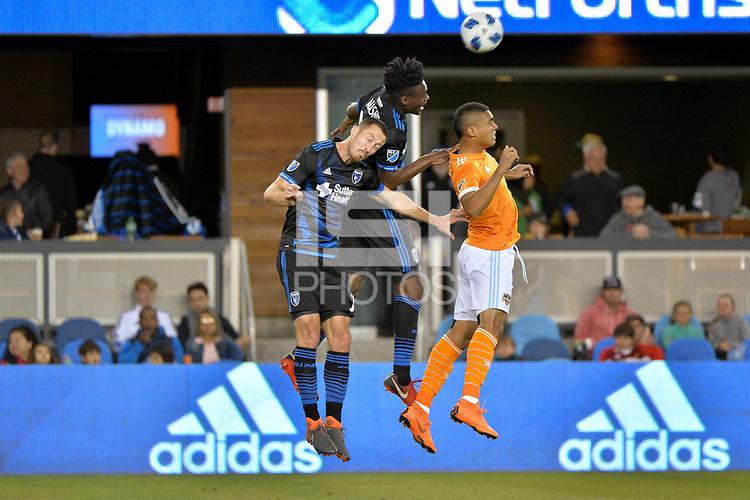 San Jose, CA - Saturday April 14, 2018: Francois Affolter, Fatai Alashe during a Major League Soccer (MLS) match between the San Jose Earthquakes and the Houston Dynamo at Avaya Stadium.
