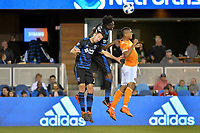 San Jose, CA - Saturday April 14, 2018: Francois Affolter, Fatai Alashe during a Major League Soccer (MLS) match between the San Jose Earthquakes and the Houston Dynamo at Avaya Stadium.
