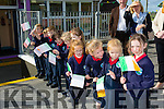Guard of honour by flag waving pupils of Listellick NS wait the arrival of the tricolour and Proclamation to the school on Monday