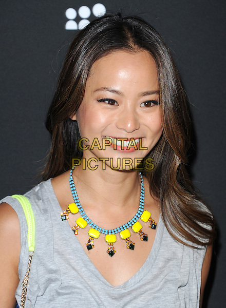 Jamie Chung<br /> The Myspace Event held at The El Rey Theatre in Los Angeles, California, USA.<br /> June 12th, 2013   <br /> headshot portrait yellow blue beads necklace grey gray sleeveless top <br /> CAP/DVS<br /> &copy;DVS/Capital Pictures