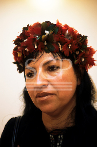 London, England. Kaingang amerindian sociologist Azelene Kaingang at a conference in London.