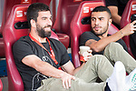 FC Barcelona's midfielder Arda Turan and midfielder Rafinha Alcantara before Copa del Rey (King's Cup) Final between Deportivo Alaves and FC Barcelona at Vicente Calderon Stadium in Madrid, May 27, 2017. Spain.<br /> (ALTERPHOTOS/BorjaB.Hojas)