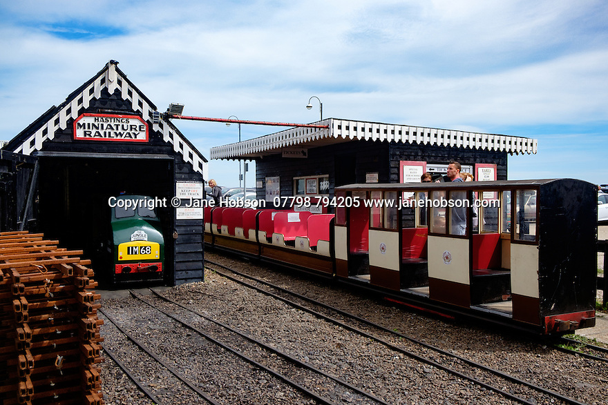 A train from the Hastings Miniature Railway, in its shed.