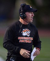 Sep 20, 2013; Los Angeles, CA, USA; Occidental College Tigers coach Doug Semones duirng the game against the Austin College Kangaroos at Patterson Field. Photo by Kirby Lee