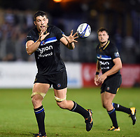 Charlie Ewels of Bath Rugby receives the ball. European Rugby Champions Cup match, between Bath Rugby and Benetton Rugby on October 14, 2017 at the Recreation Ground in Bath, England. Photo by: Patrick Khachfe / Onside Images