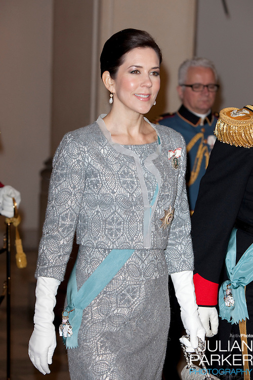 Crown Princess Mary of Denmark attends the New Year Court for diplomats at Christiansborg Palace in Copenhagen, Denmark.