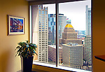 Office with a view of downtown Boston, MA.