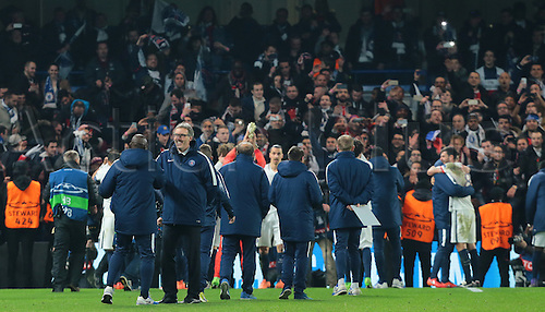 09.03.2016. Stamford Bridge, London, England. Champions League. Chelsea versus Paris Saint Germain. Jubilant scenes at full time as Paris St. Germain Manager Laurent Blanc congratulates some of his players whilst the rest of the PSG team celebrate with their fans