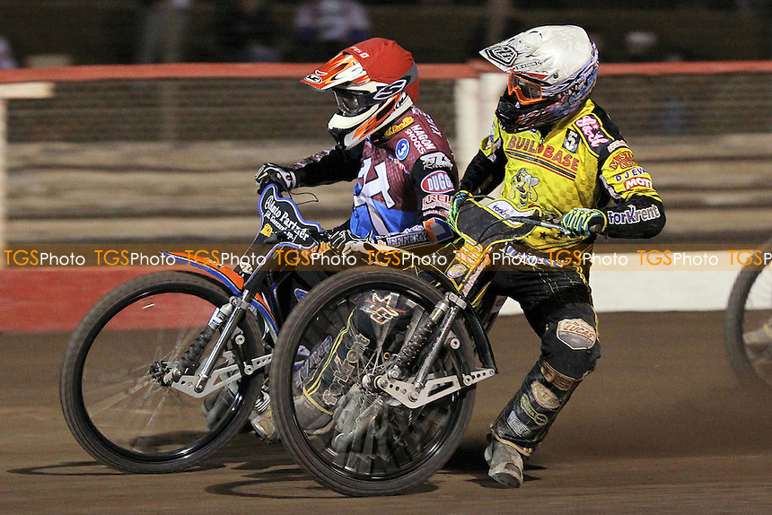 Heat 15: Peter Karlsson (red) and Scott Nicholls - Lakeside Hammers vs Coventry Bees - Sky Sports Elite League Speedway at Arena Essex Raceway, Purfleet - 10/09/12 - MANDATORY CREDIT: Gavin Ellis/TGSPHOTO - Self billing applies where appropriate - 0845 094 6026 - contact@tgsphoto.co.uk - NO UNPAID USE.