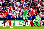 Aissa Mandi of Real Betis (L) heads the ball during the La Liga 2018-19 match between Atletico de Madrid and Real Betis at Wanda Metropolitano Stadium on October 07 2018 in Madrid, Spain. Photo by Diego Souto / Power Sport Images