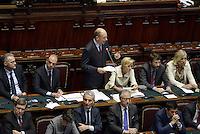Roma, 29 Aprile 2013.Camera dei Deputati.Il Governo Letta chiede la fiducia alla Camera dei Deputati..Nella foto Enrico Letta durante il suo discorso all'assemblea