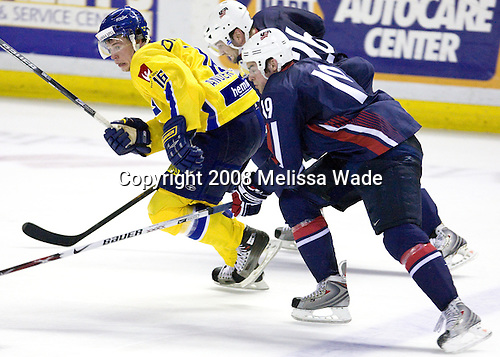 Johan Andersson (Sweden 16 - Timra IK), Mark Stuart (USA 26 - Boston Bruins/Colorado College), Drew Stafford (USA 19 - Buffalo Sabres/University of North Dakota) - Team USA defeated Team Sweden 5-1 on Sunday, April 27, 2008, in an exhibition match at the Cumberland County Civic Center in Portland, Maine, prior to the 2008 World Championships.