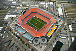 Aerial view of the Sun Life Stadium, 2 days before Superbowl 44 in Opa-Locka, Florida. New Orleans Saints vs the .Indianapolis Colts.   Home of the Fed Ex Orange Bowl, Miami Dolphins, Land Shark Stadium, Dolphin, and Florida Marlins.