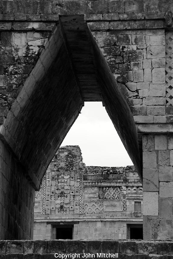 Mayan corbelled arch, Nunnery Quadrangle, Uxmal, Yucatan, Mexico