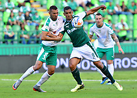 PALMASECA-COLOMBIA,09 -09-2018.Jose Sand (Der.) del Deportivo Cali disputa el balón con Jeider Riquett (Izq.) de Equidad durante partido por la fecha 9 de la Liga Águila II 2018 jugado en el estadio Deportivo Cali de la ciudad de Palmira./ Jose Sand (R) player of Deportivo Cali  fights for the ball with Jeider Riquett(L) of Equidad during the match for the date 9 of the Aguila League II 2018 played at Alfonso Lopez  stadium in Palmaseca city. Photo: VizzorImage/ Nelson Rios / Contribuidor