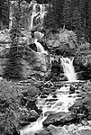 A peaceful stop along the Icefields Parkway in Alberta Canada provides this tranquil scene of a waterfall.